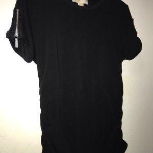 Black Michael Kors Short Sleeve Logo Zipper Pull.